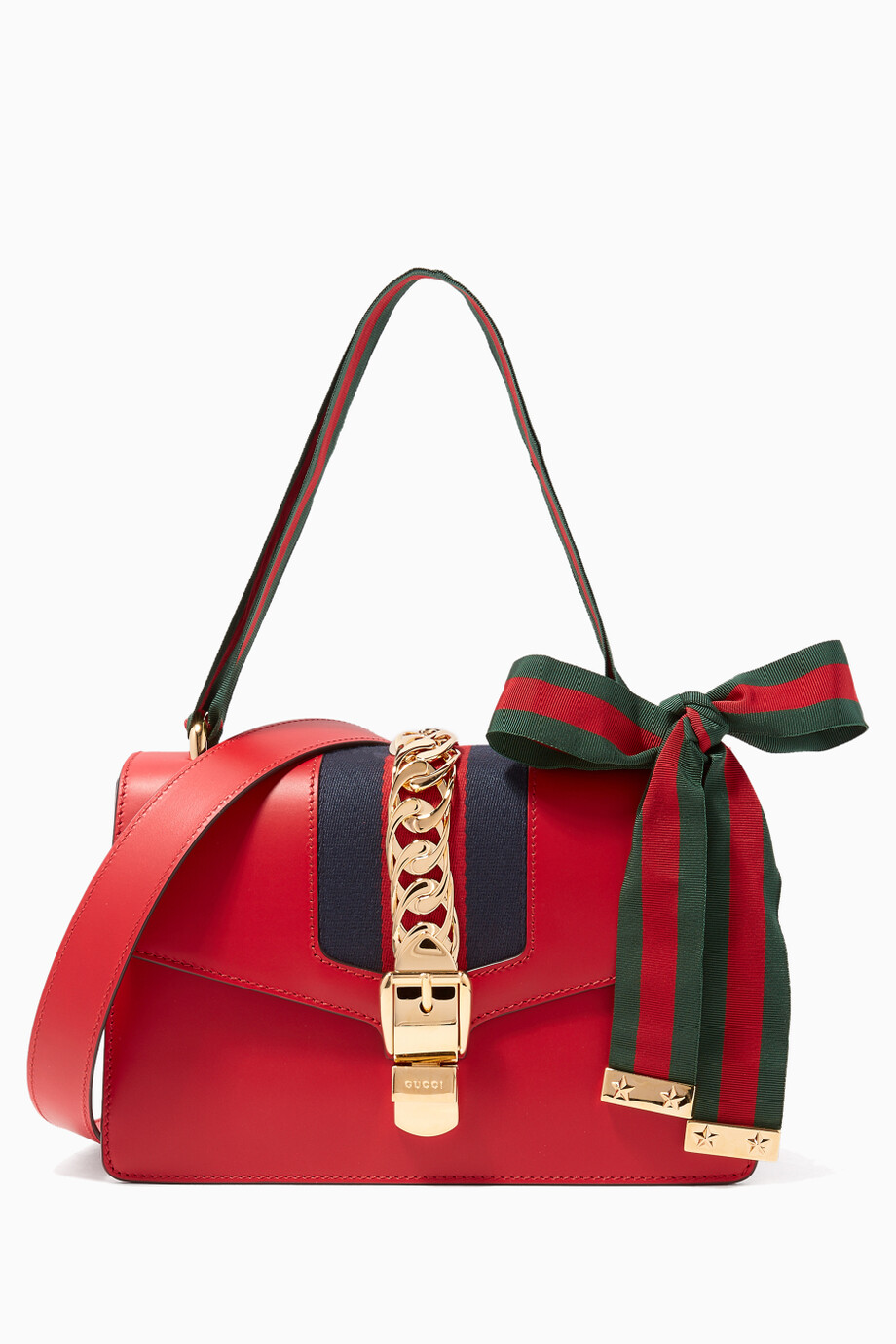 72c2ef8845e5 Shop Gucci Red Hibiscus Red Sylvie Shoulder Bag for Women | Ounass Saudi