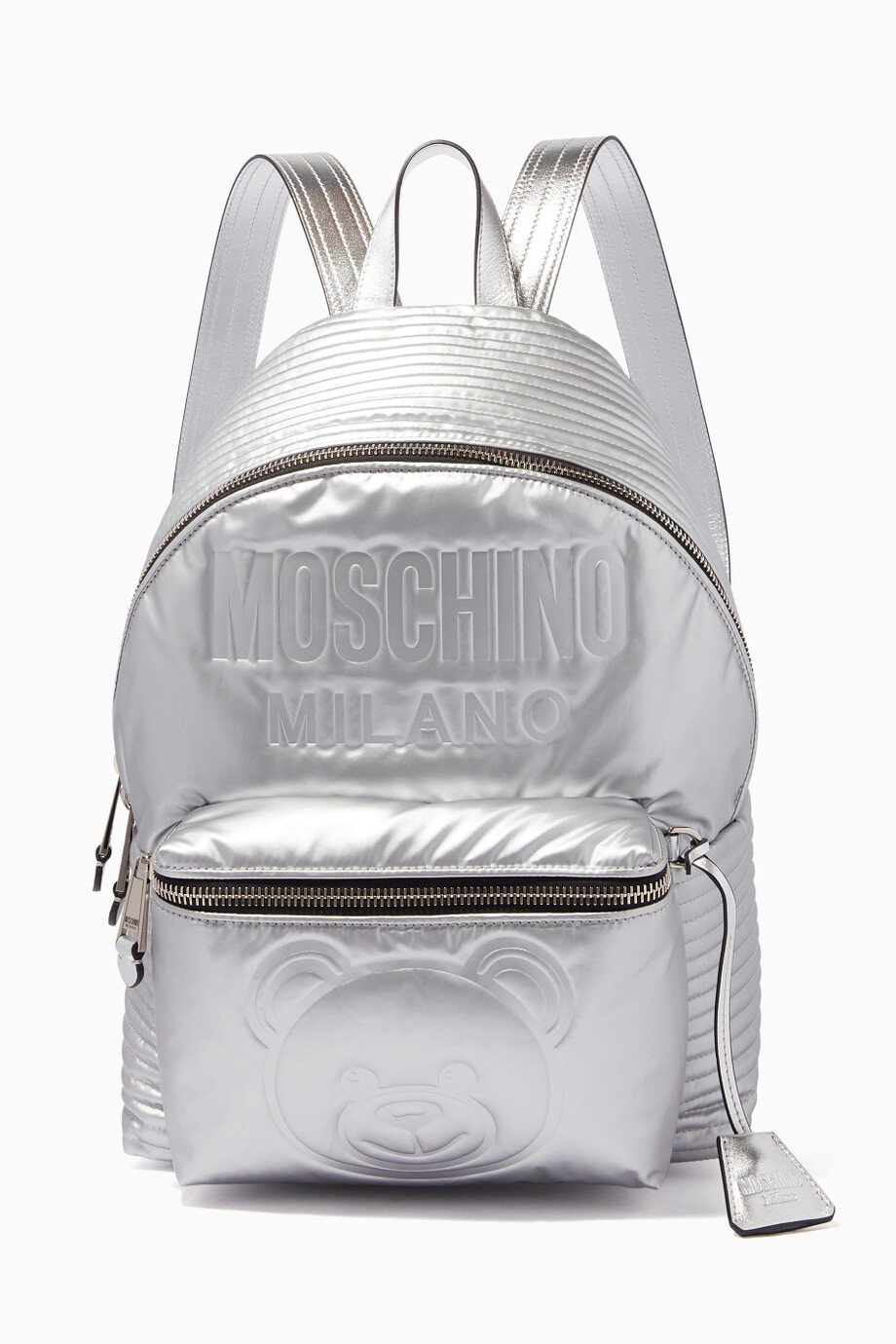 7cdebefb60a4ce Shop Moschino Silver Silver Space Teddy Quilted Backpack for Women ...