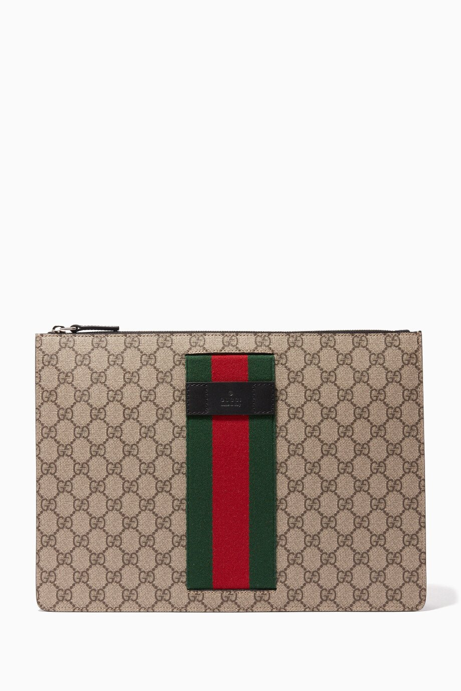 ecbb5a898fe Shop Gucci Neutral Beige   Ebony GG Supreme Zip Pouch for Men ...
