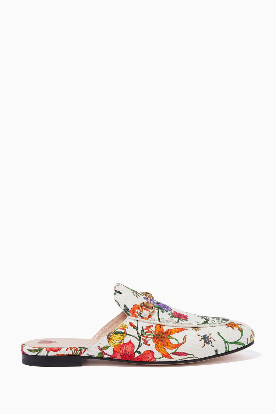faa714dae2ba Shop Gucci White White Floral-Print Princetown Slippers for Women ...