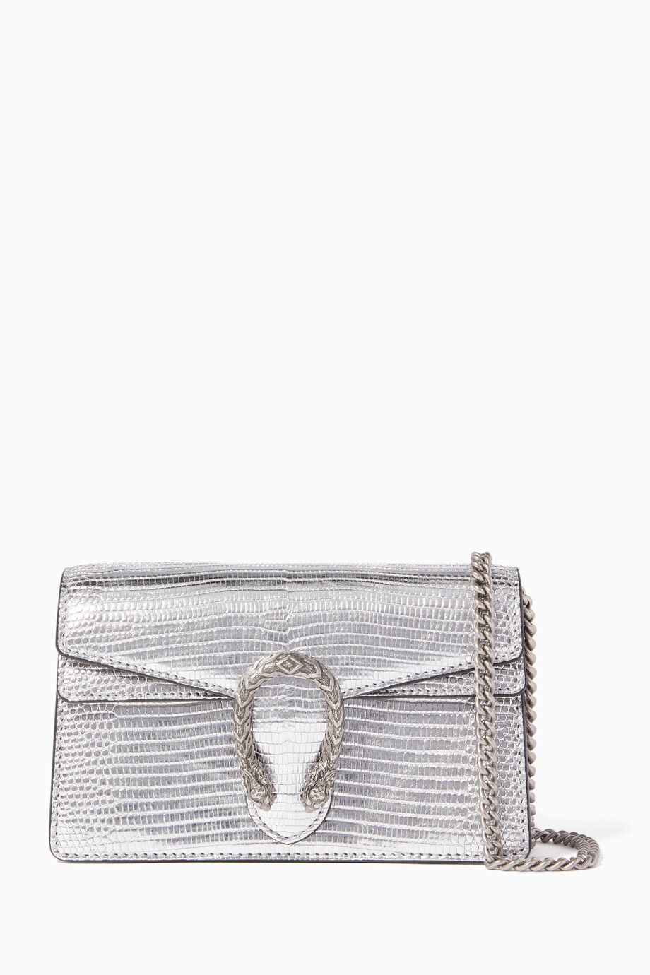 9694c56b3520 Shop Gucci Silver Dionysus Lizard Super Mini Bag for Women | Ounass ...