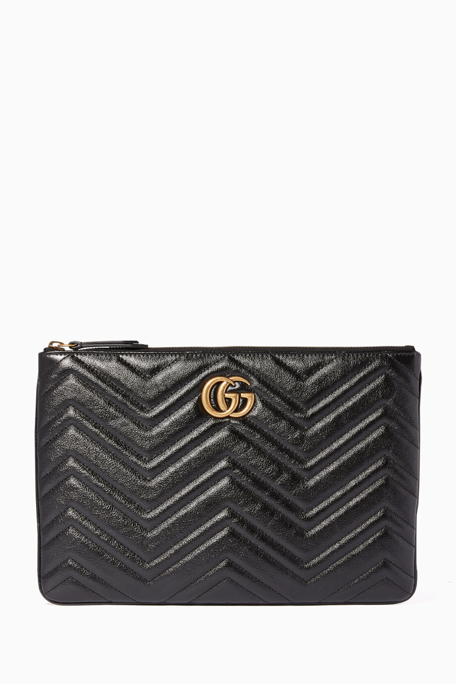 660a1a9fd34 Shop Gucci Black Chevron Quilted GG Marmont Pouch for Women