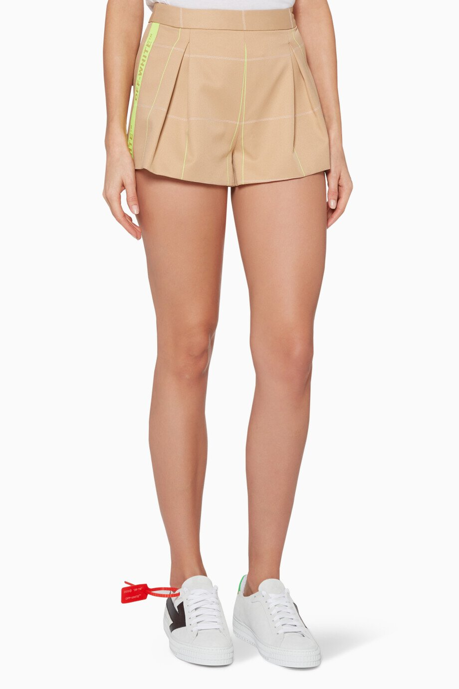 c1e9422234f2c Shop Off-White Neutral Beige Logo Tape Shorts for Women