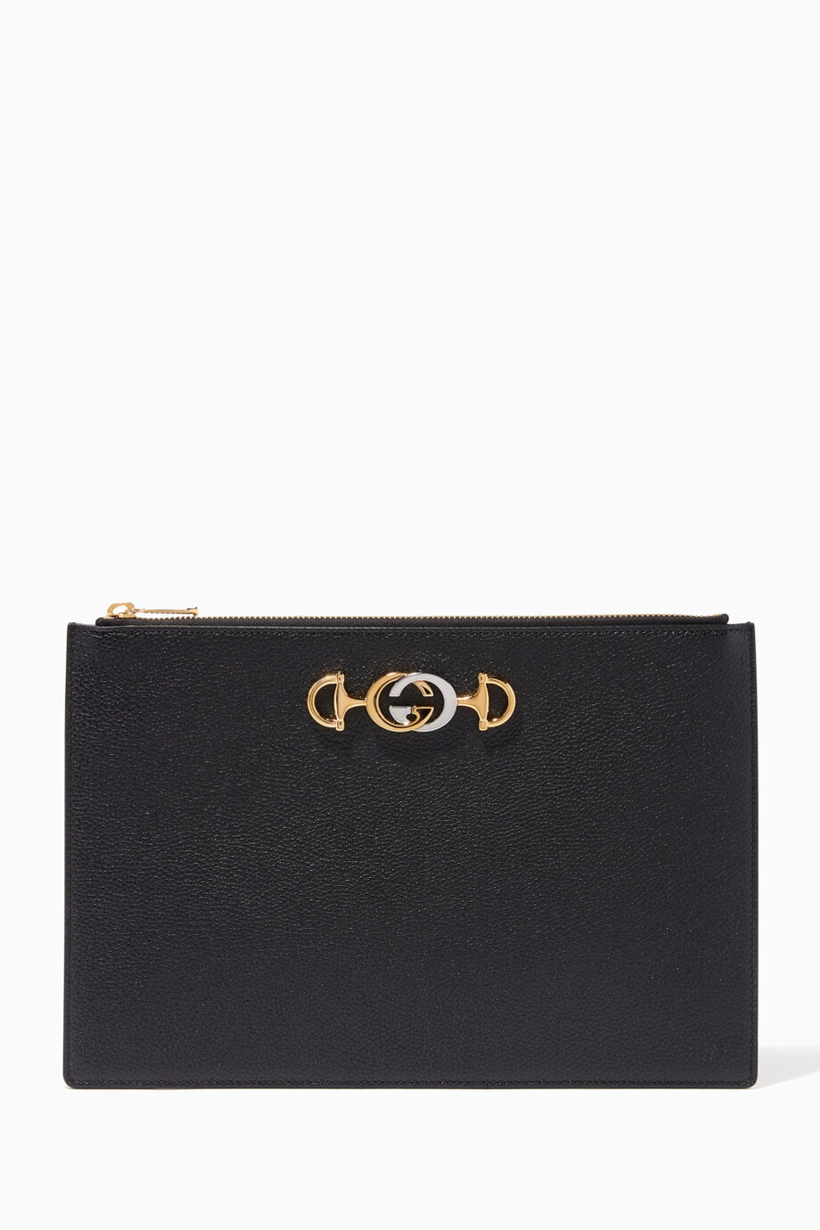 323f6051032 Shop Gucci Black Zumi Grainy Leather Pouch for Women