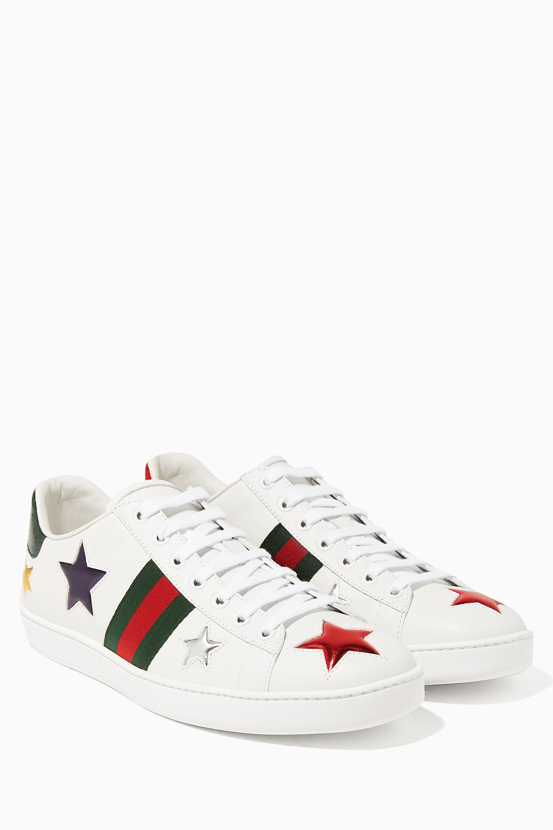 White Ace Star-Embroidered Sneakers
