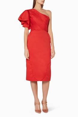 Shop Johanna Ortiz Red Red One Shoulder Tiger Lily Dress For Women