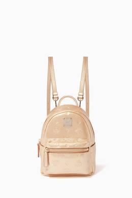 Shop Mcm Gold Stark Monogram Leather Backpack For Women Ounass Saudi