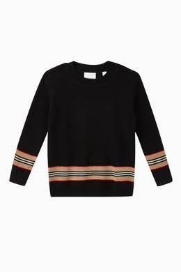 Shop Burberry Black Icon Stripe Panel Merino Wool Sweater