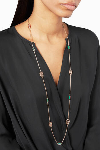 hover state of Rose-Gold & Malachite Serpenti Sautoir Necklace