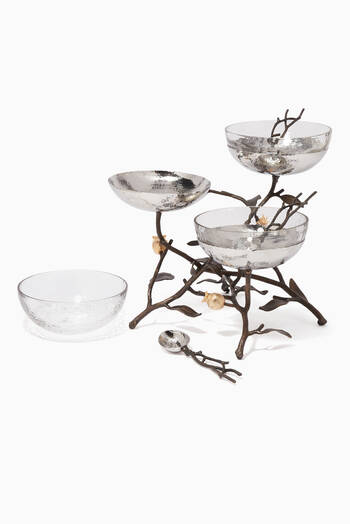 hover state of Pomegranate Triple Bowl Set & Spoons