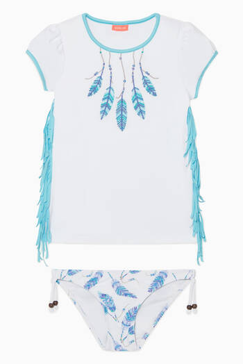 hover state of Feather Print Fringed Rash Vest