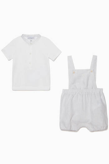 hover state of Jersey T-Shirt & Linen Playsuit Set