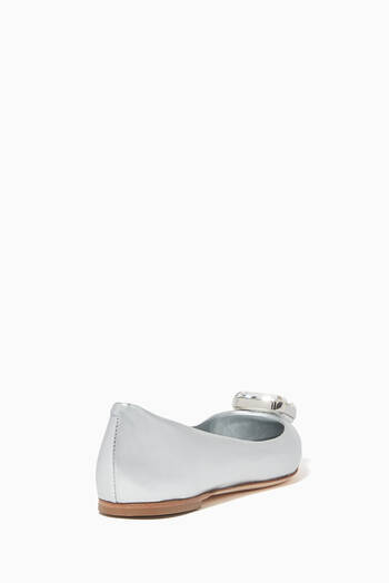 hover state of Crystal Metallic Leather Ballerinas