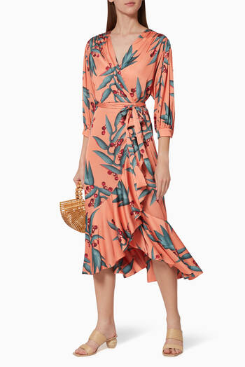 hover state of Floral Print Crepe Wrap Dress