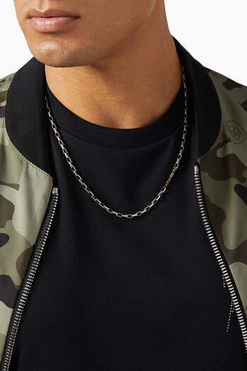 hover state of Box Chain Necklace with 18kt Gold Link