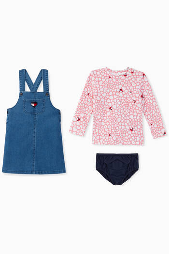 hover state of Denim Heart Print Dungarees Set