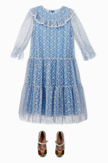 hover state of GG Garland Embroidered Tulle Dress