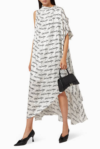 hover state of Stola Dress in Scribble Printed Jacquard Silk