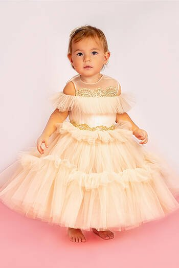 hover state of Lotus Ruffled Tulle Dress