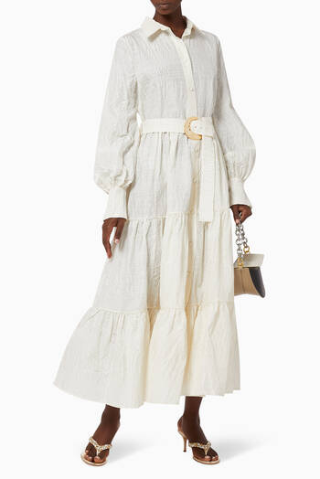 hover state of Capri Belted Silk-Blend Shirt Dress