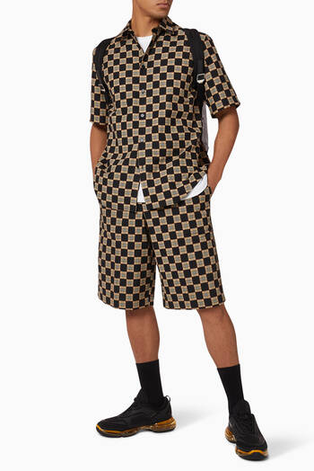 hover state of Chequer Cotton Jacquard Tailored Shorts