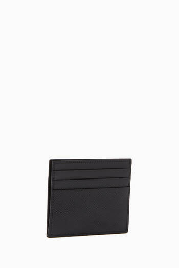 hover state of Metal Logo Card Holder in Saffiano Leather