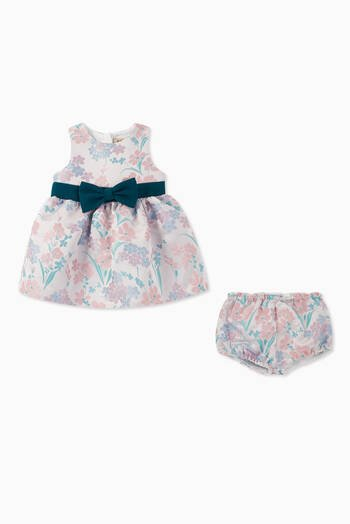 hover state of Bow Belt Bodice Dress & Bloomers, Set of 2