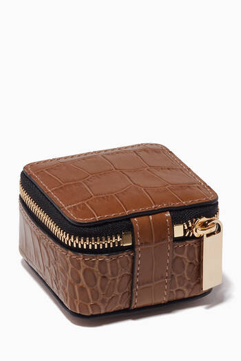 hover state of Mara Trinket Case in Croc-Embossed Leather