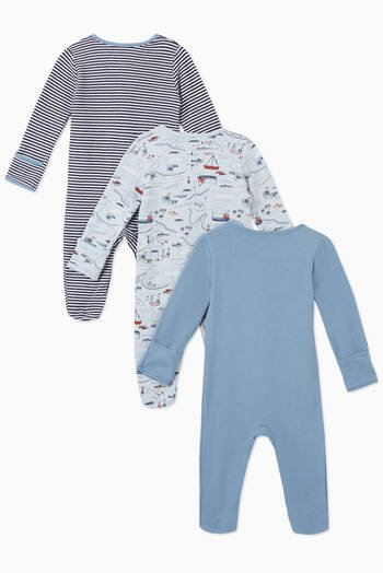 hover state of Nautical Cotton Sleepsuit, Set of 3