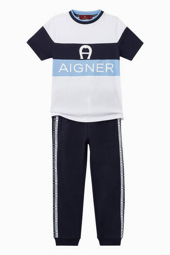 hover state of Logo Stripe Cotton Jersey Sweatpants