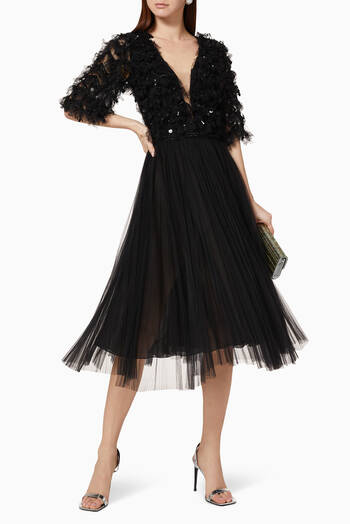 hover state of Sequin Bead Pleated Tulle Dress