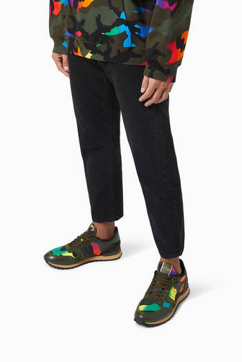 hover state of Valentino Garavani Camouflage Rockrunner Sneakers in Fabric & Nappa