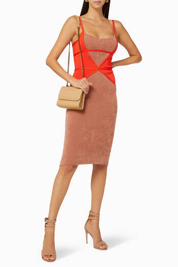 hover state of Colourblock Chenille Knit Midi Dress