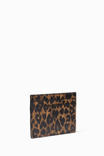 hover state of Monogram Card Holder in Heart-shaped Leopard-print Leather