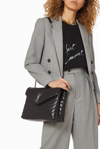 hover state of Medium Loulou Shoulder Bag in Matelassé Lambskin