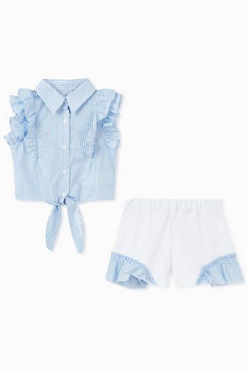 hover state of Striped Ruffle Top & Shorts Set