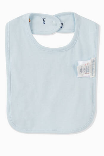 hover state of Polo Bear-Print Bib in Cotton