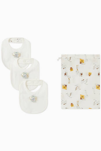 hover state of Bear Print Bibs, Set of 3