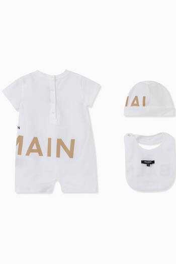 hover state of Logo Romper, Hat & Bib Set in Cotton Jersey