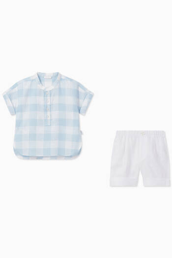 hover state of Gingham Shirt & Shorts Set in Cotton