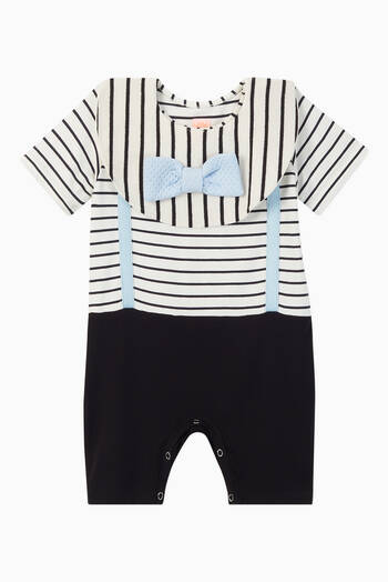 hover state of Orlando Striped Jersey Romper with Bib