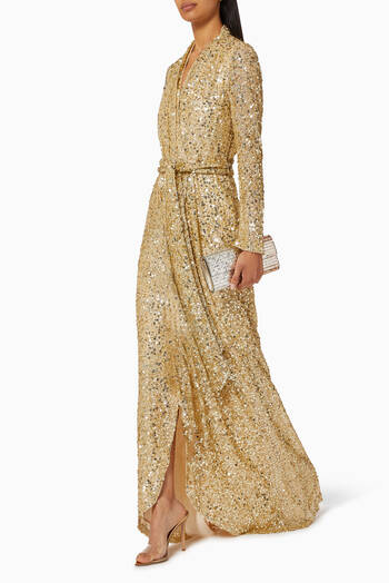 hover state of Wrap-around Sequin Embellished Gown