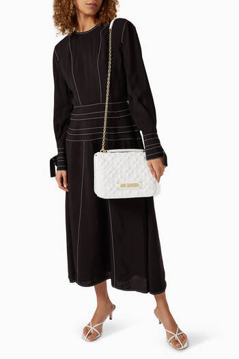 hover state of Quilted Shoulder Bag in Faux Leather