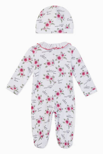 hover state of Floral Jumpsuit and Hat, Set of 2