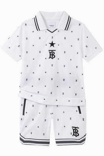 hover state of Star & Monogram Motif Jersey Mesh Polo Shirt