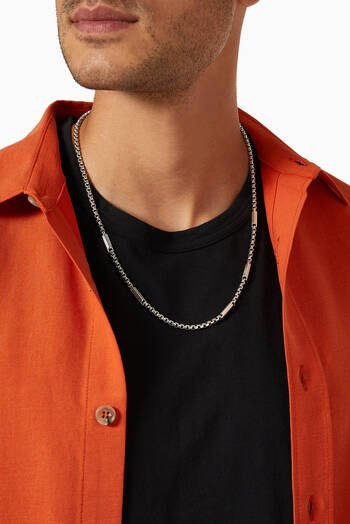 hover state of Streamline® Station Box Chain Necklace with Pavé Black Diamonds in Sterling Silver