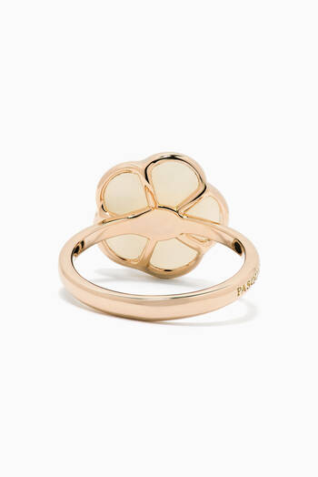 hover state of Petit Joli Diamond Ring with White Agate in 18kt Rose Gold