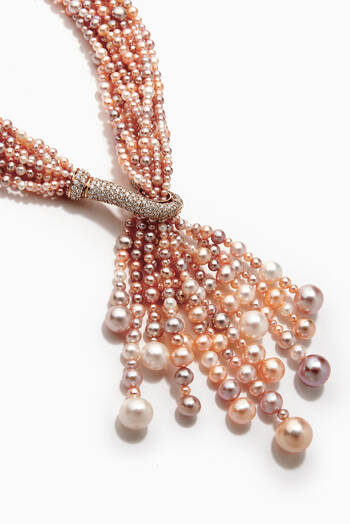 hover state of Bahar Maidar Diamond Necklace with Pearls in 18kt Rose Gold