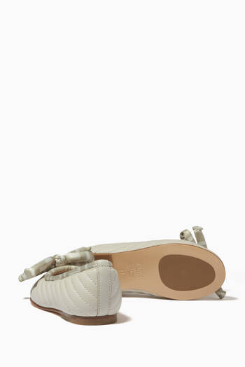 hover state of FF Tonal Bow Ballerinas in Leather