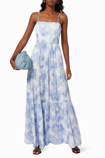 hover state of Clarissa Tie-Dye Maxi Dress in Organic Cotton Gauze